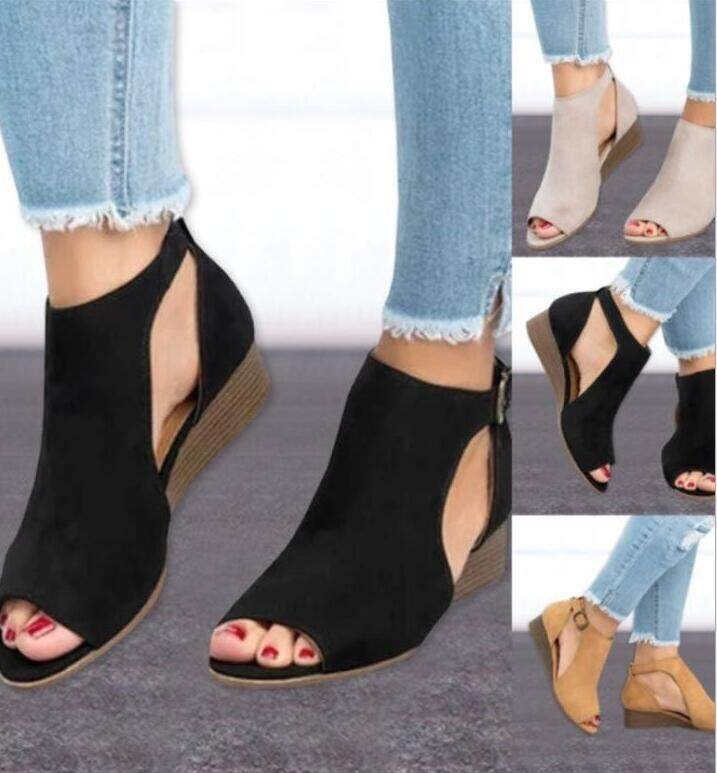 870a97b15677 Plus Size 35-43 Woman Wedge Buckles Fish Mouth Sandals Gladiator Women  Sandals Mid Heel