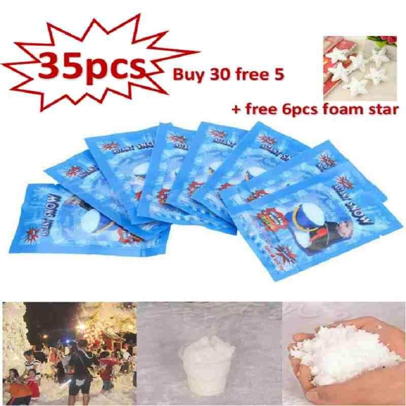 Dongxi 【buy 30 Free 5 + Free 6pcs Foam Star】35pcs/set Outdoor Christmas Party Fake Winter Magic Instant Snow Powder By Dongxi.