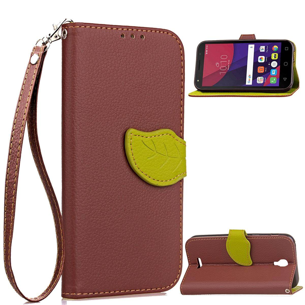 AS Beauty Phone Case for Alcatel OneTouch Pixi 4 5.0 OT5010D Leaf Design PU Leather Case Magnet Closed Flip Stand Cover with Wallet Card Slots and Hand Strap - intl
