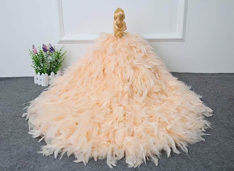 Pernikahan Putri 3D Mata Nyata Tinggi Renda Bulu Ekor Besar, pengantin Wanita Mimpi Bersama Manual Dekorasi Pengiriman Cepat. -Intl