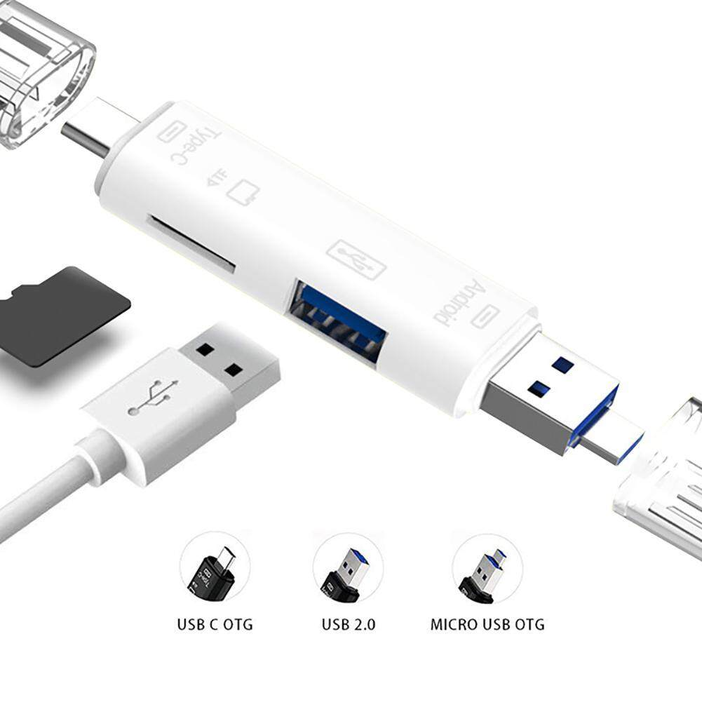 niceEshop 5-in-1 Portable USB OTG Adapter,Type-C/USB/Micro Sd Card Reader for Macbook PC Tablets Smartphone