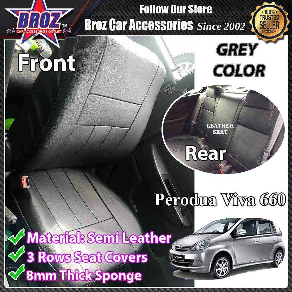 Broz Car Seat Cover Case Semi Leather Perodua Viva  660 Front and Back - Grey