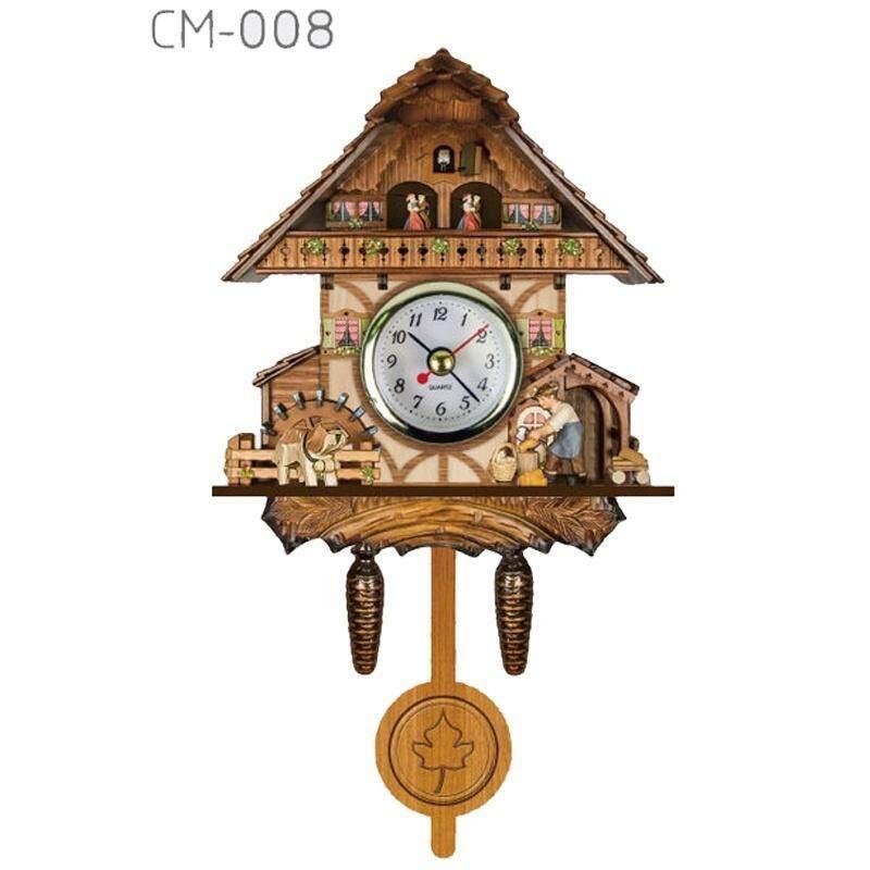 Vintage Cuckoo Clock Forest Quartz Swing Wall Alarm Clock Handmade Room Decor