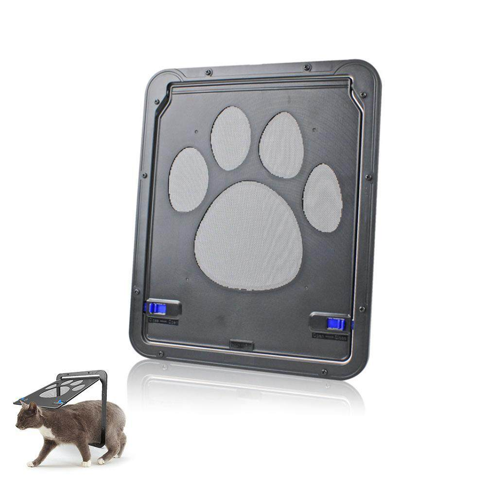 Niceeshop Small Dog And Cat Door Pet Screen Door, Magnetic Flap Screen Automatic Lockable Black Door For Small Dog And Cat Gate By Nicee Shop.