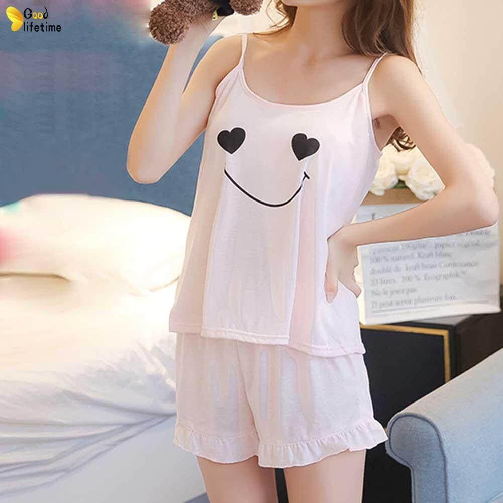 GLT Women Girl Lady Sleeveless Nightgown Set Pajamas Sleepwear Summer Sling  Comfortable For Home 11aa0d91bbaf