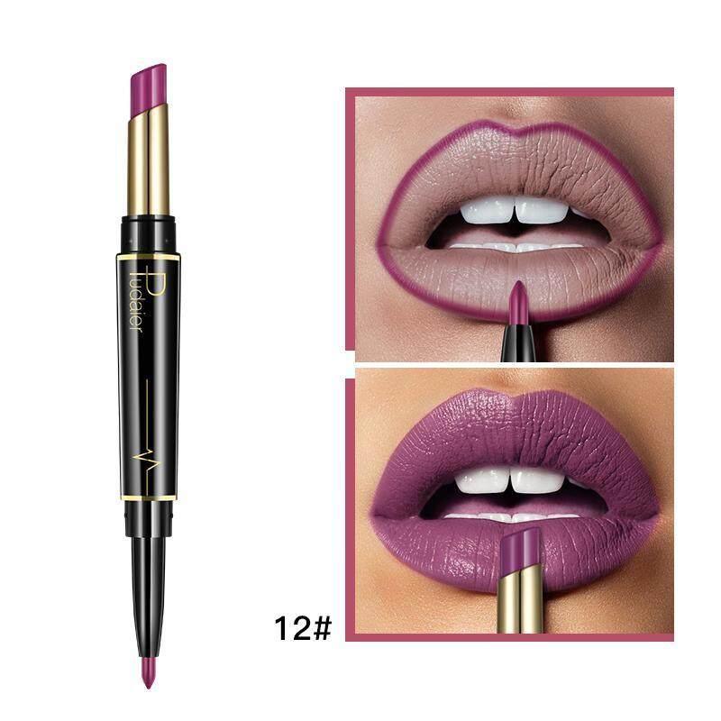 Fuan 2 In 1 Double Kepala Lipstik Pensil Penggaris Bibir Tahan Air Kelembapan Tahan Lama Pigmen Nude Warna Tata Rias Lipliner Kosmetik (12 #)