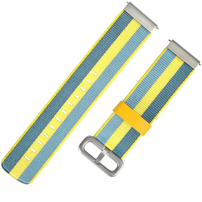 20mm Fashion Colored Woven Nylon Fabric Replacement Wrist Watch Band Strap Bracelet Belt Universal For Huami Amazfit Bip Youth Samsung Gear Sport S2 Classis Moto360 Gen 2 42mm LG Watch SPORT (Orange/Black/Yellow/Blue) - intl