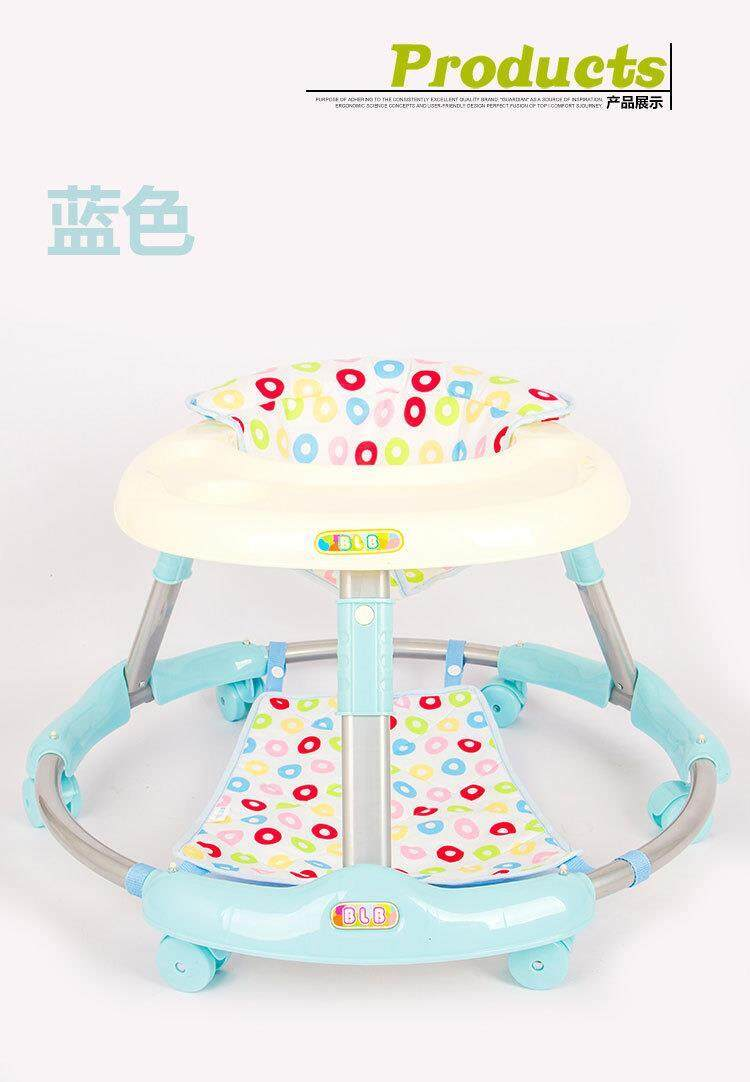 Modern Round Shape Baby Walker [blue/grey] with Food Tray