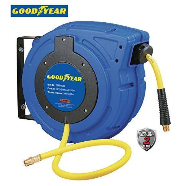 Goodyear 27527153G Enclosed Retractable Air Compressor/Water Hose Reel with 3/8 in. x 50 ft. Hybrid Polymer Hose, Max. 300PSI - intl