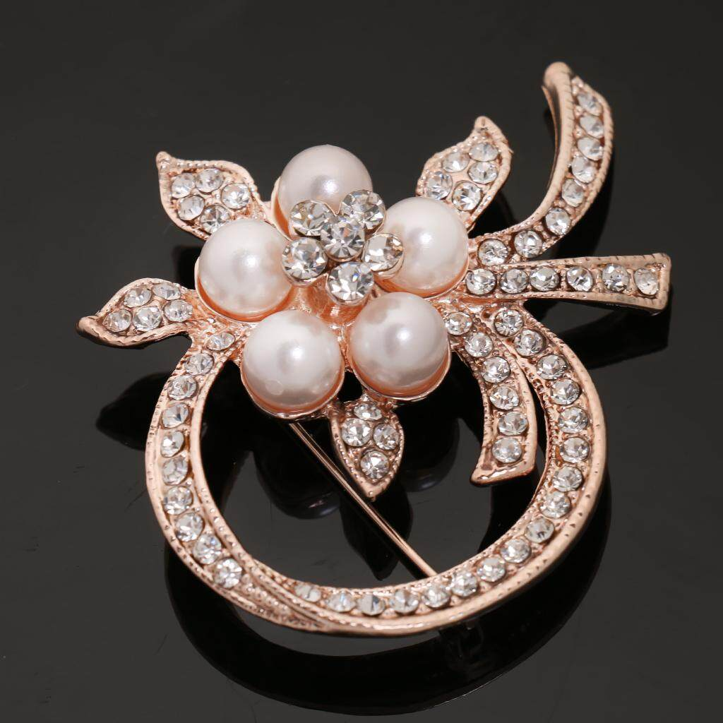 GuangquanStrade Vintage Alloy Brooch DIY Crystal Pin Badge Gift for Wedding Bride Flowers