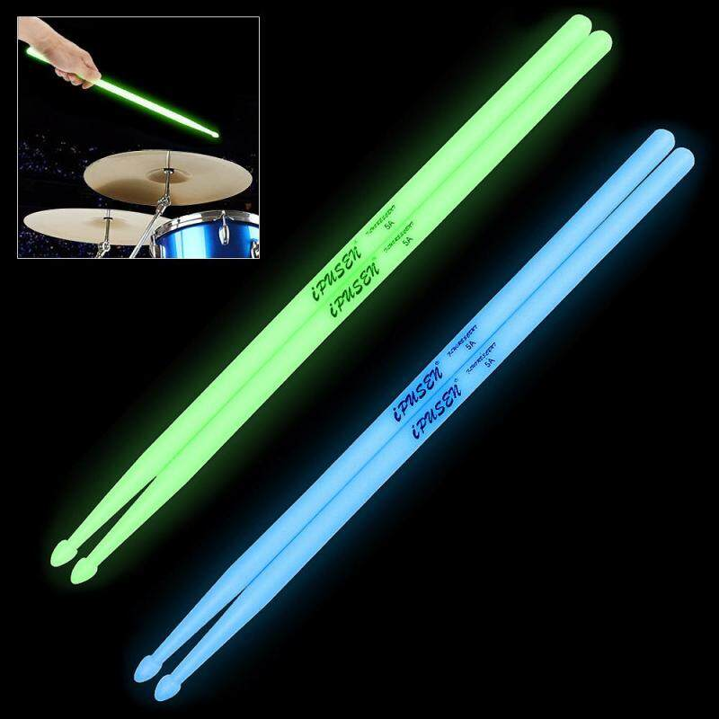 Noctilucent 5A Drum Stick Glow in The Dark Stage Performance Luminous Drumsticks - intl
