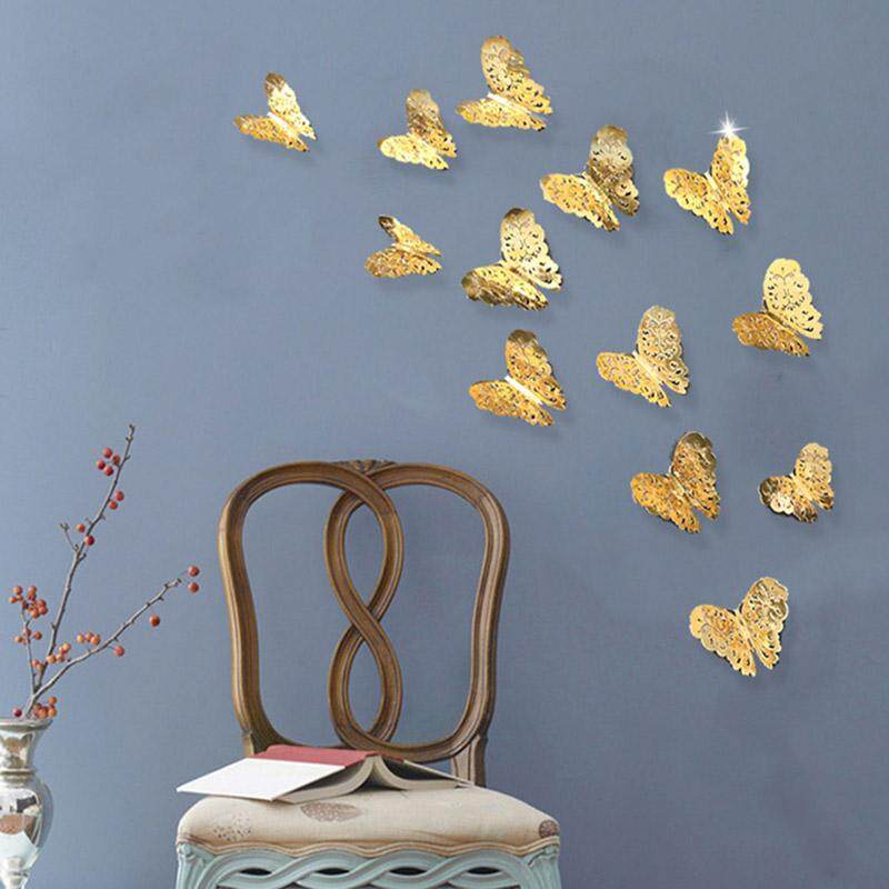 36 Pcs 3D Hollow butterfly wall sticker Gold Paint paper sticking butterfly stickers home wall decoration Cut Out design