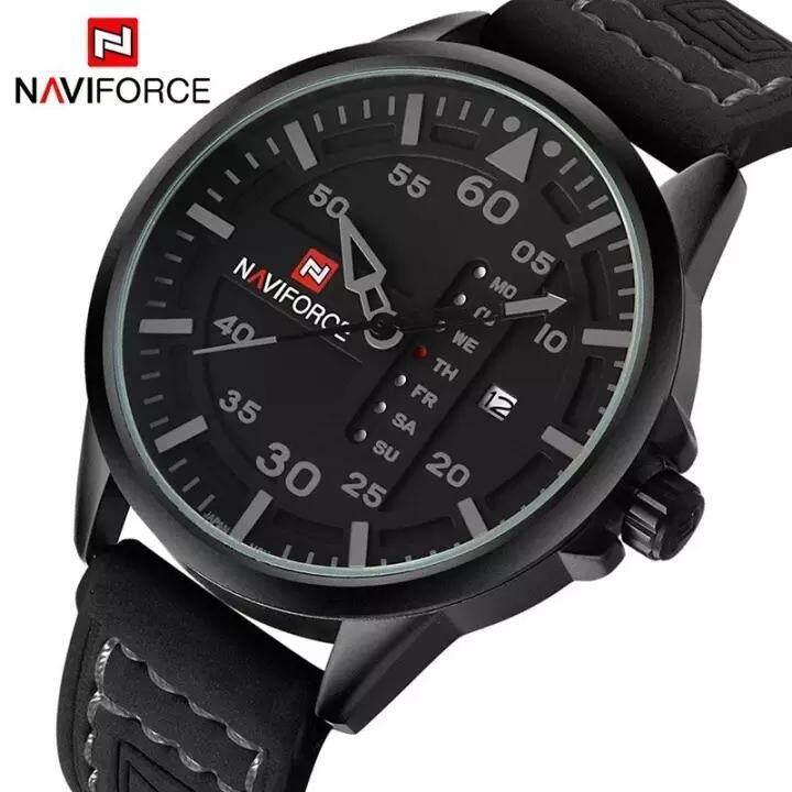 Naviforce Mewah Merek Tentara Militer Pria Jam Tangan Pria QUARTZ Date Clock Man Leather Strap Jam
