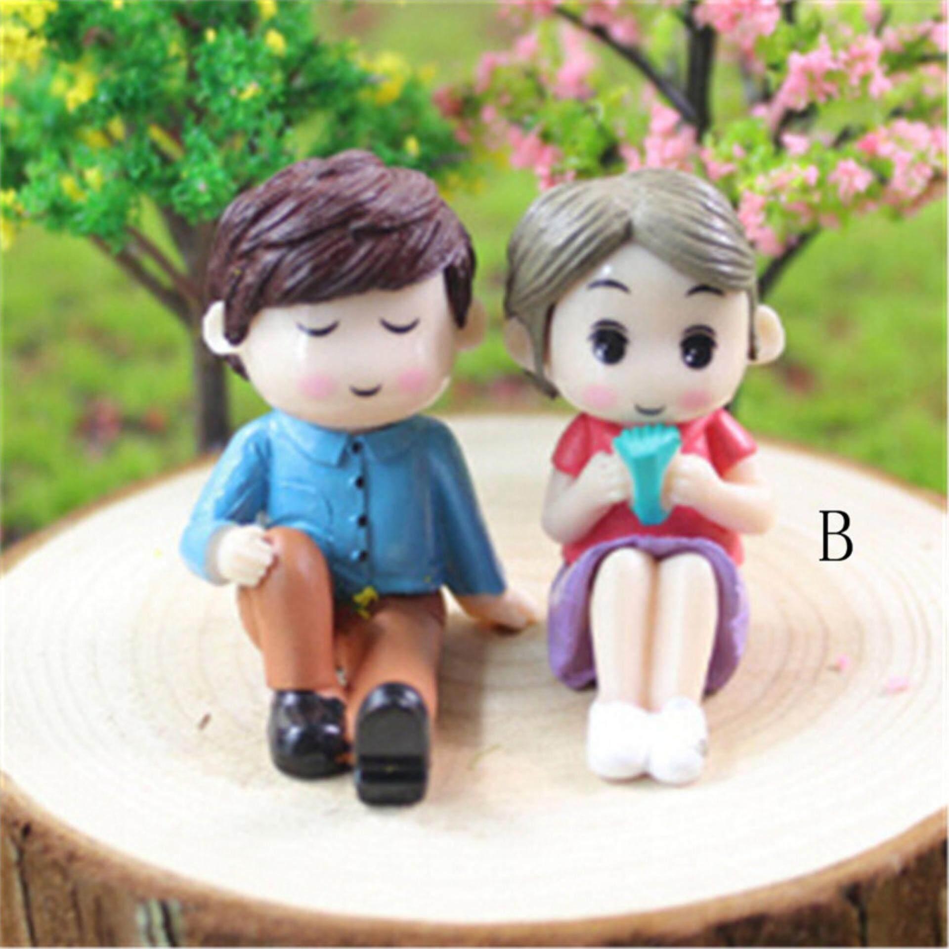 2 Pcs/set Mini Boneka Pasangan Miniatur Taman Peri Dekorasi Rumah Boneka Boneka Tokoh Yang By Sporter.