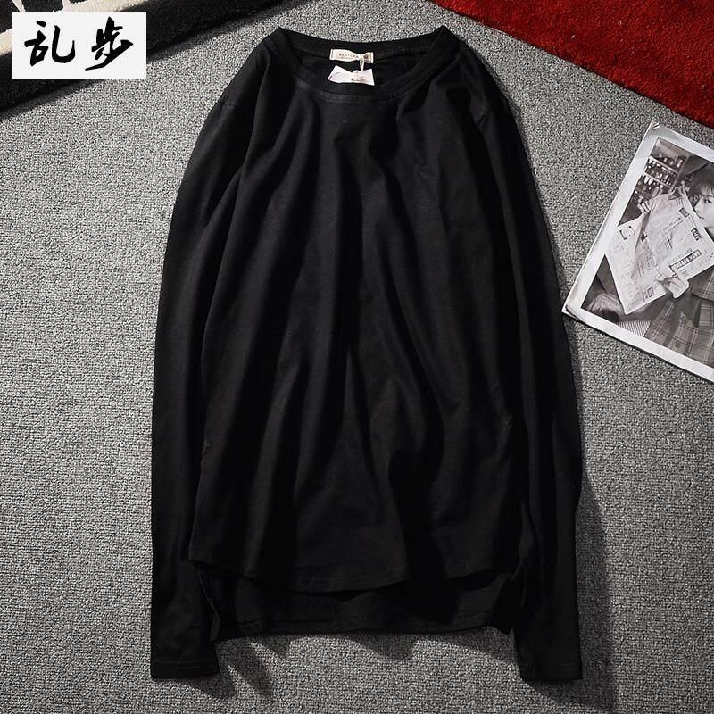 Gaya Korea Kaos Sederhana Warna Polos Baju Dalaman Katun Leher Bulat (CT019 Lengan Panjang Warna