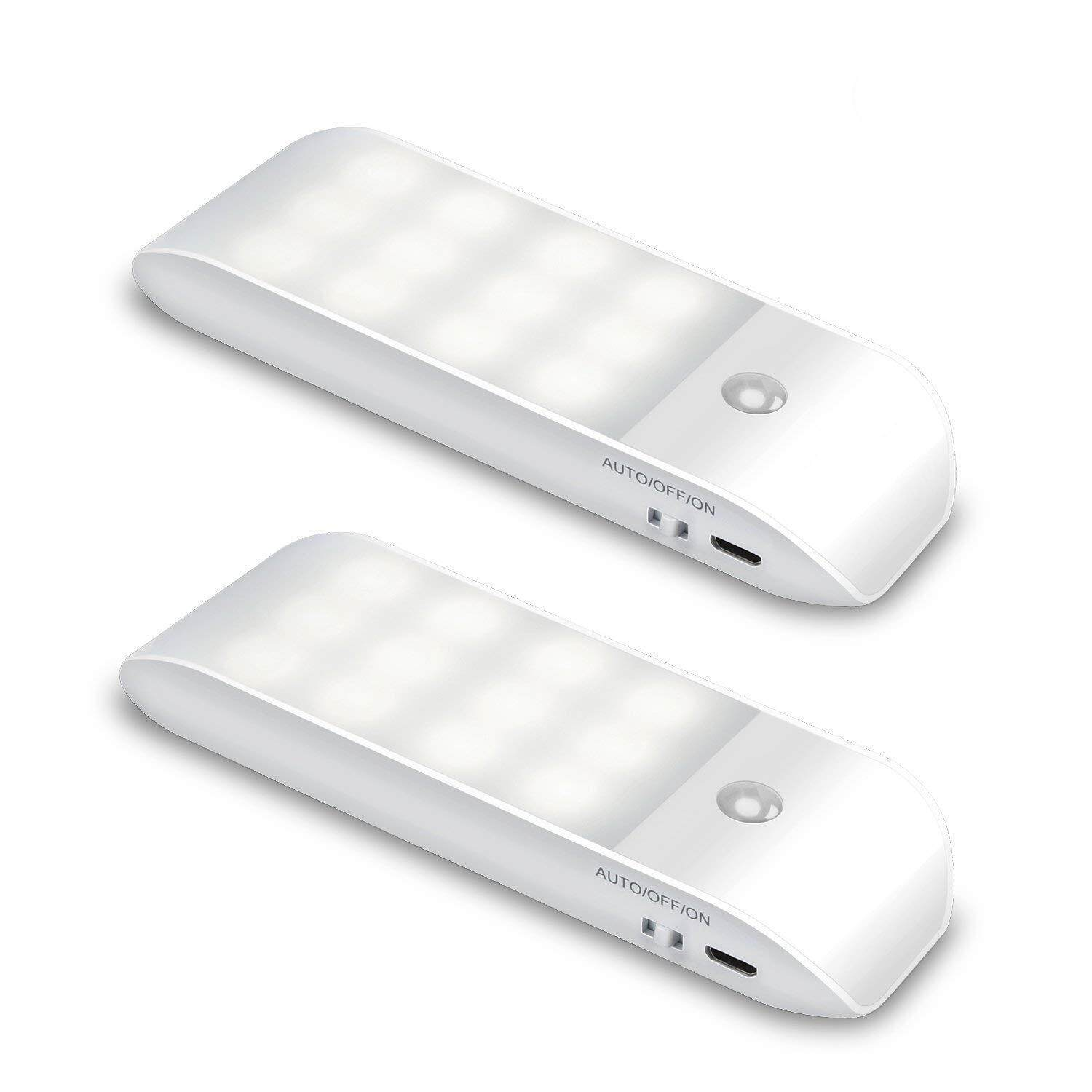 Motion Sensor Light, [2 Pack] Cupboard Night Light, USB Rechargeable Battery Powered Light with 24 LED, Removable Magnetic Strip Stick-On Wardrobe,Cabinet, Kitchen, Stairs, etc Free Shipping Singapore