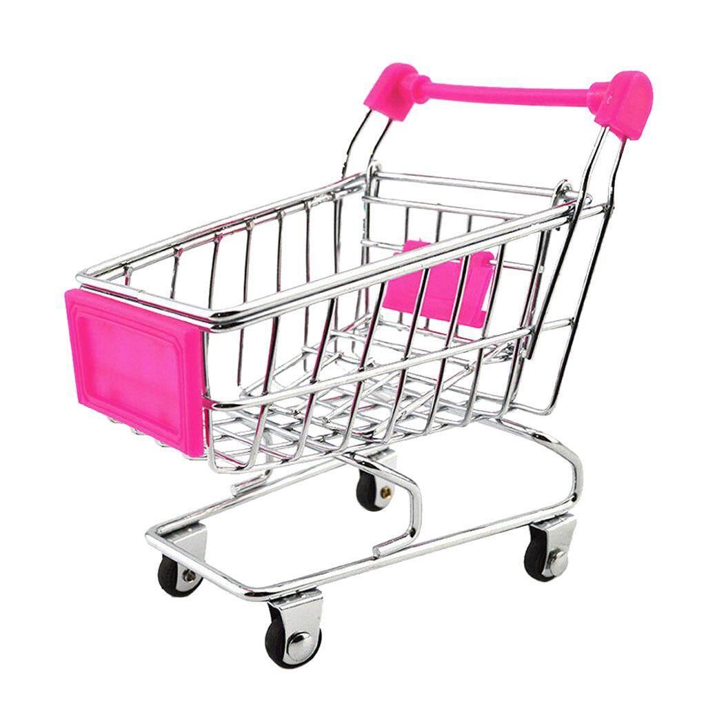 Hình ảnh MagiDeal Mini Shopping Cart Trolley Toy Fuchsia