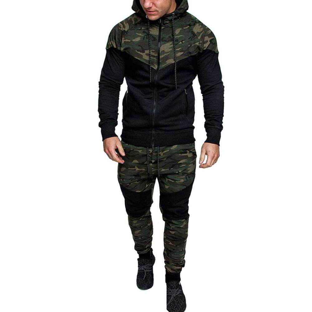 Gardenia Men Camouflage Sports Suit High Elastic Waist Long Casual Pants + Jacket By Gardenia Store.