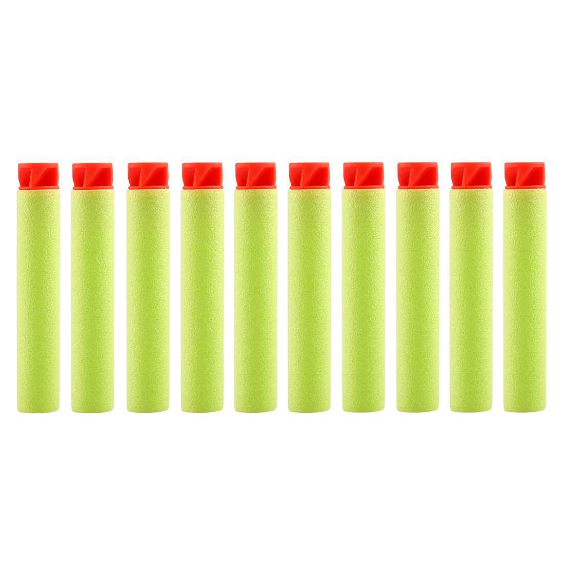 360 Wish 10 Pcs Flattop Peluru Busa Isi Ulang Lembut Dart Peluru-Merah Kepala +