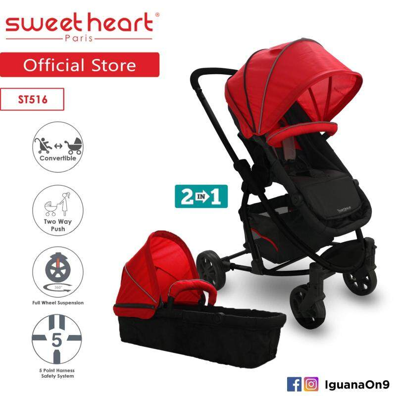 Sweet Heart Paris 2 in 1 Reversible & Convertible Travel System Stroller ST516 with Carrycot & Two Way Push Singapore