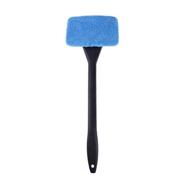3 Pcs Pembersih Kaca Depan Mobil Auto Berguna Kaca Depan Mobil Bersih Wiper dengan Kain Microfiber Gagang Panjang Pencuci Gelas Alat Pembersih untuk Jendela (Gagang Hitam * 1 + Hitam Papan Hapus * 1 + Sky Fiber Biru Kain * 1) -Intl
