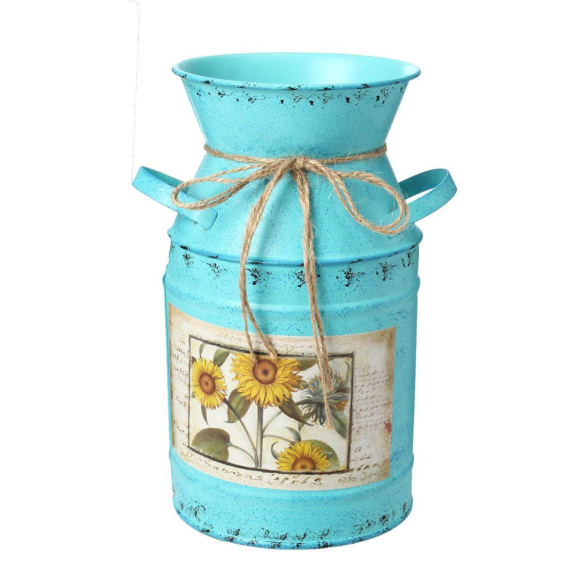 Rustic Green Metal Milk Churn Vase Planter Flower Herb Pot Novelty Ornament GIFT