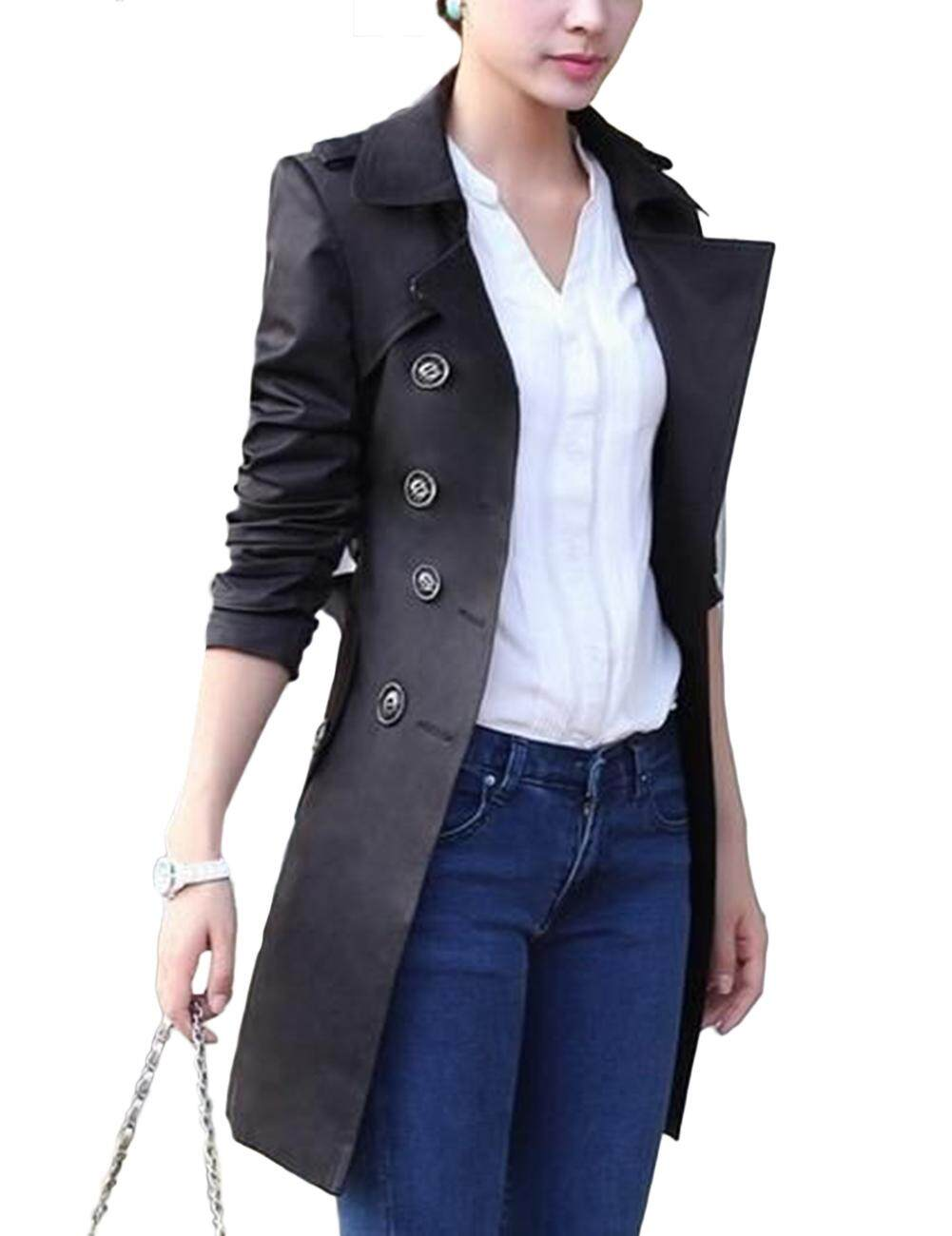 Wanita Lady S Jaket Mantel Trendi Double-Breasted Sabuk Slim Jaket Ukuran Besar By The Sunnyshop.