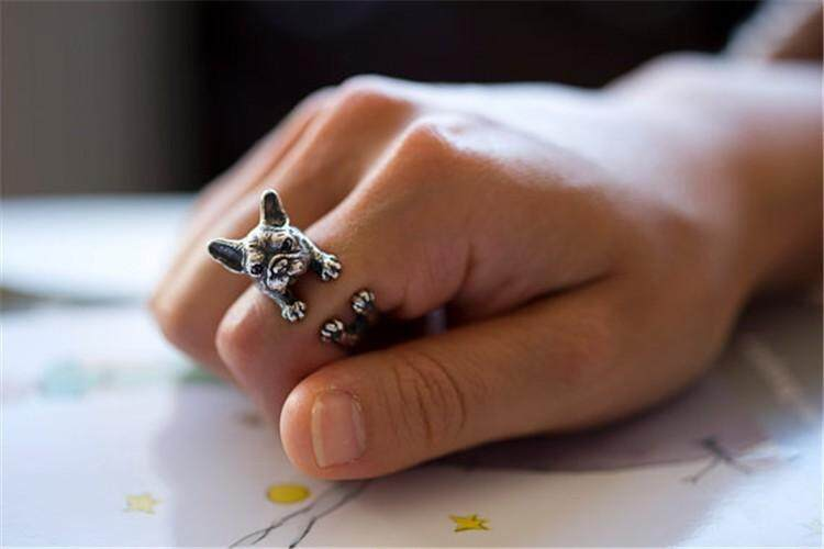 Kreatif Lucu Anjing Hitam Perak Perunggu Unik Paduan Wanita Terbuka Cincin