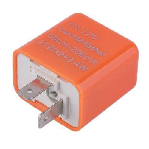 IBERL 2 Pin Speed Adjustable LED Flasher Relay Motorcycle Turn Signal Indicator Orange - intl