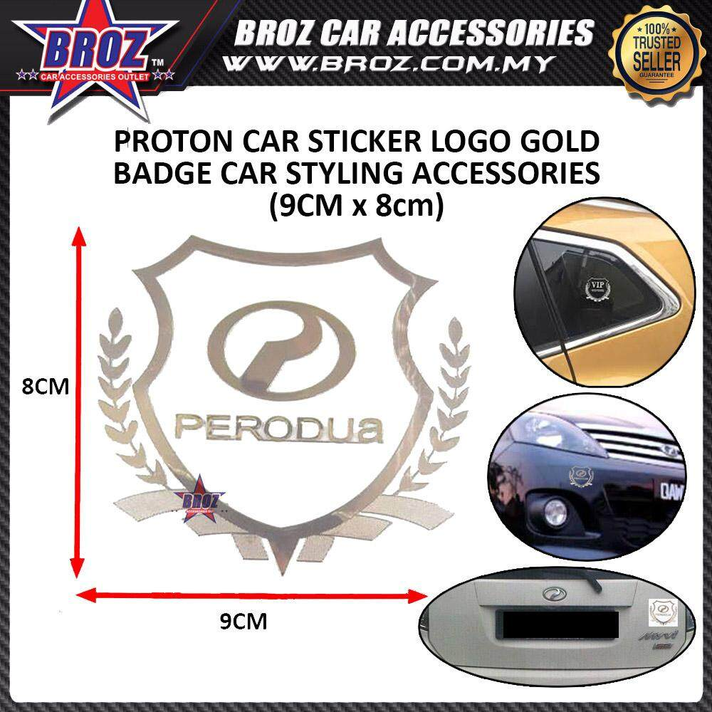 PERODUA + PERODUA LOGO(GOLD) Car Accessories Body Sticker Auto Decorative Emblem Badge Decals