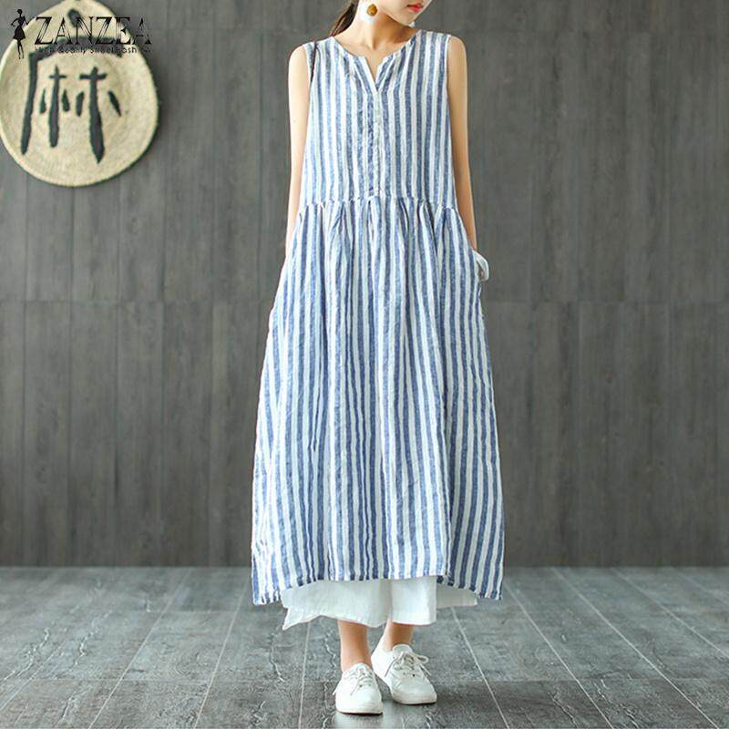 5d4c8cdc1c ZANZEA Women Sleeveless Striped Sundress Kaftan Retro Flare Long Maxi Dress