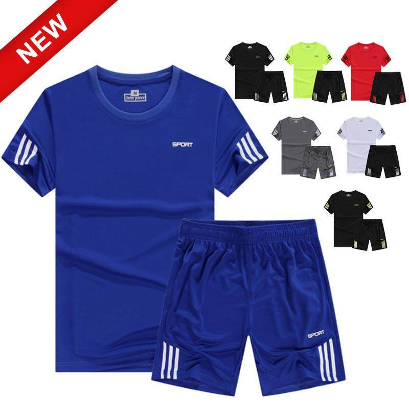 6c2bdd76674 Ocean 2PCS set Summer Men Sports T shirt Running Sets Fitness Short Sleeved T  shirt