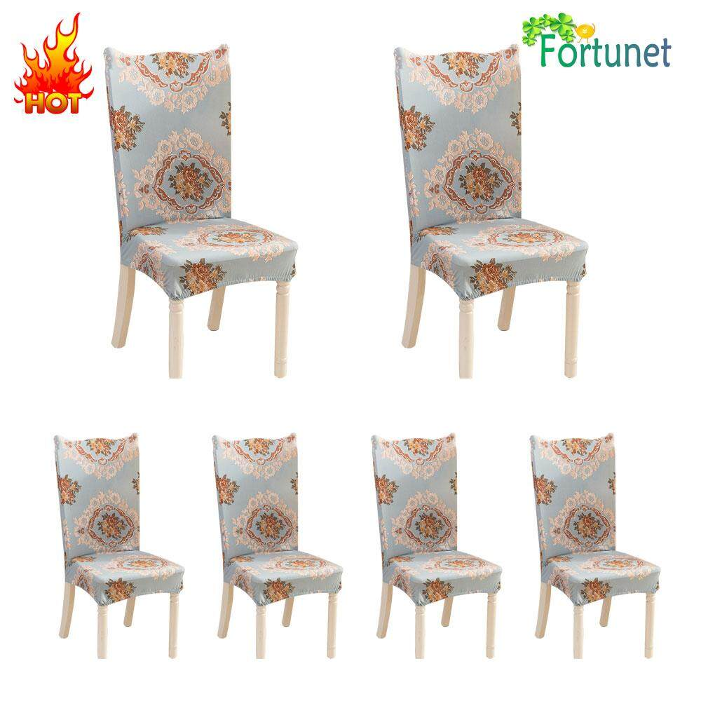 Fortunet 6 Pcs Soulfeel Soft Spandex Fit Stretch Short Dining Room Chair Covers With Printed Pattern, Banquet Chair Seat Protector Slipcover For Home Party Hotel Wedding Ceremony - intl