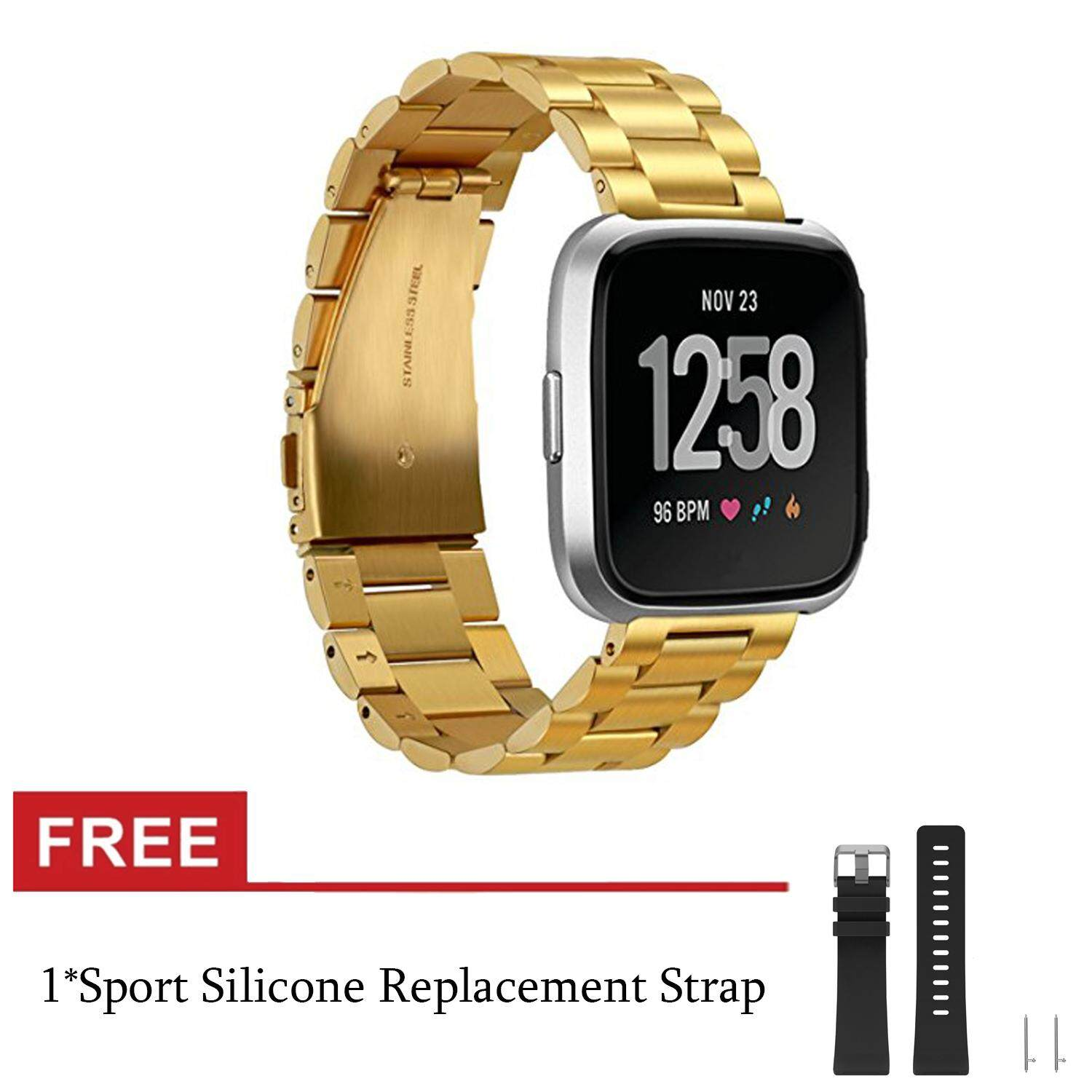 Fitbit Versa Bands, Stainless Steel Metal Band Fitbit Versa Strap Replacement Bracelet Accessories Wristbands for