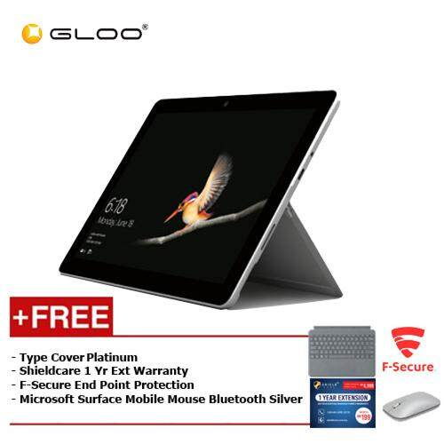 Microsoft Surface Go Y/4GB 64GB + Surface Go Type Cover Platinum + Shieldcare 1 Year Entended Warranty + F-Secure Endpoint Protection + Microsoft Surface Mobile Mouse Bluetooth Silver - KGY-00005