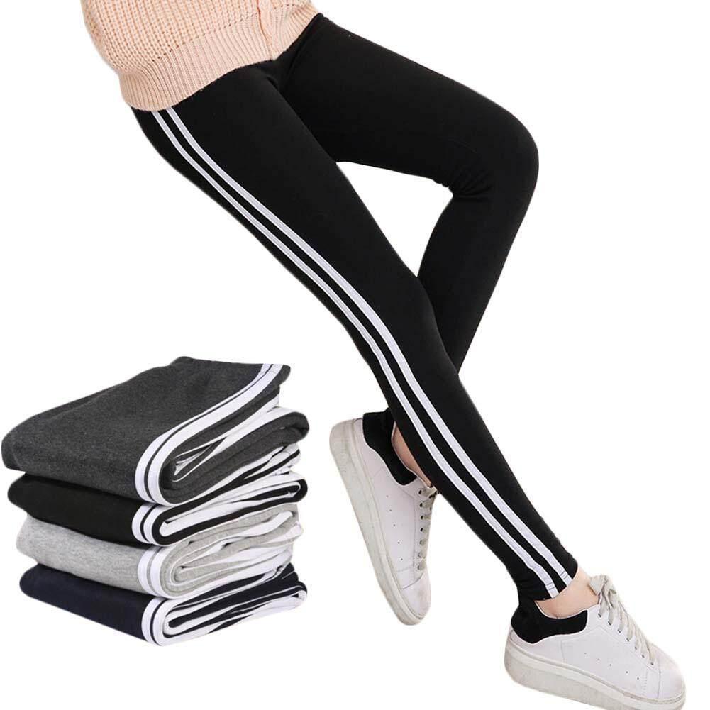 Kuhong Mode untuk Wanita Stripe Olahraga Celana Yoga Legging Gym Elastis Olahraga Latihan Lari Celana Ketat