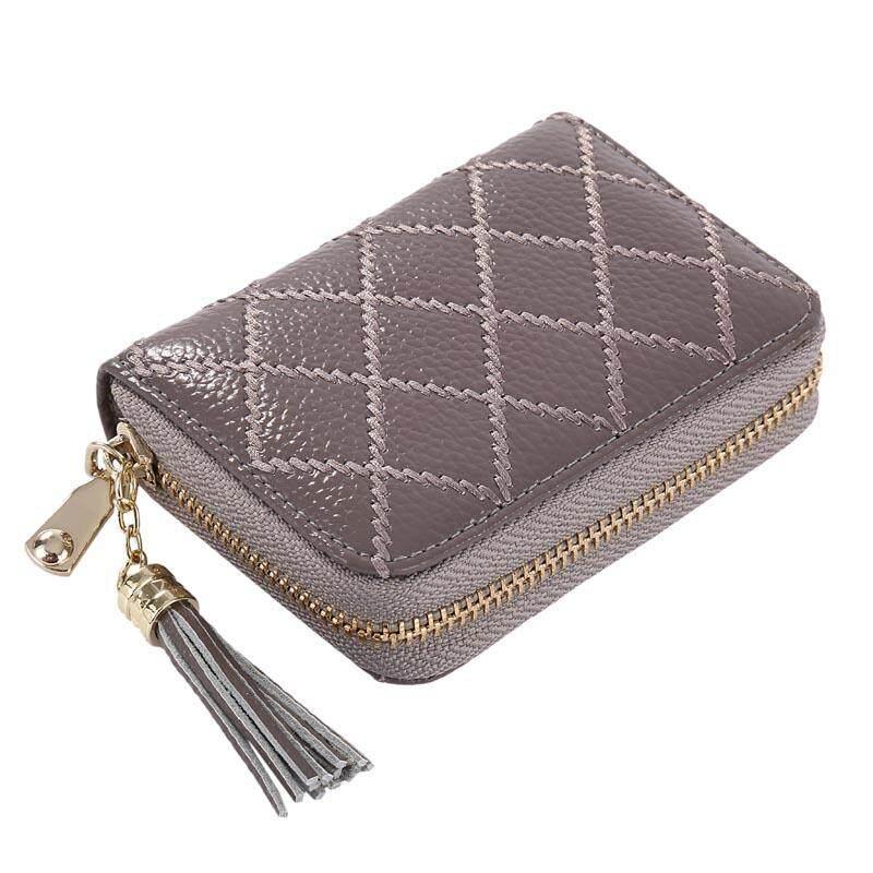 57212e393eb6 KEVIN YUN Fashion Women Credit Card Holder Genuine Leather Lady Tassel Card  Purse