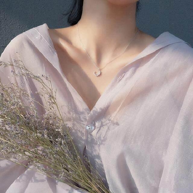 【Bulan】Jepang dan Korea Selatan baru kalung 925 sterling silver klavikula rantai perempuan liontin