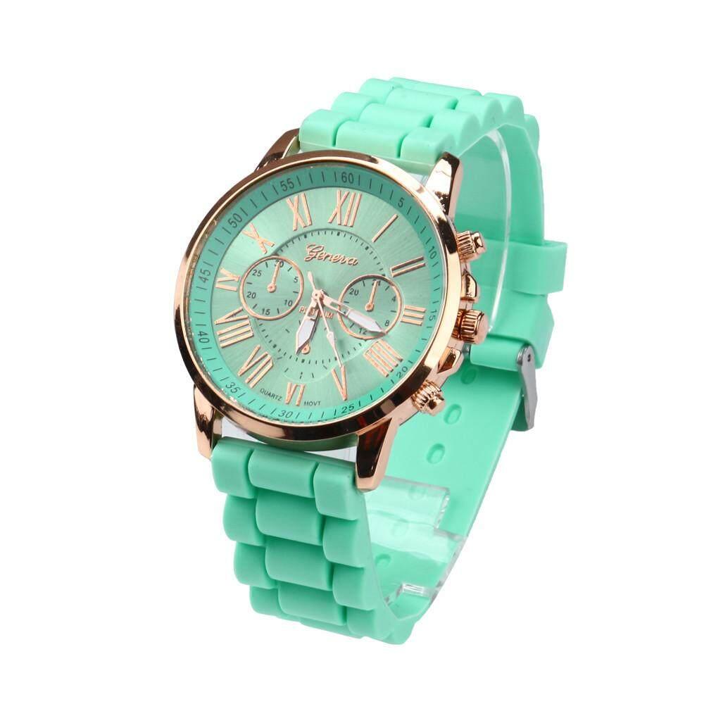 Geneva Roman Numerals Silicone Jelly Gel Quartz Analog Watch Mint Green Waterproof By Elevenmall.