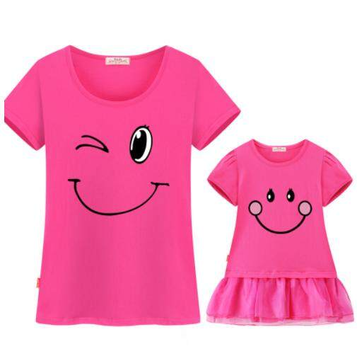 Family matching clothes mother daughter dresses son outfits cotton casual  short-sleeve T-shirt 12ac7c947d7