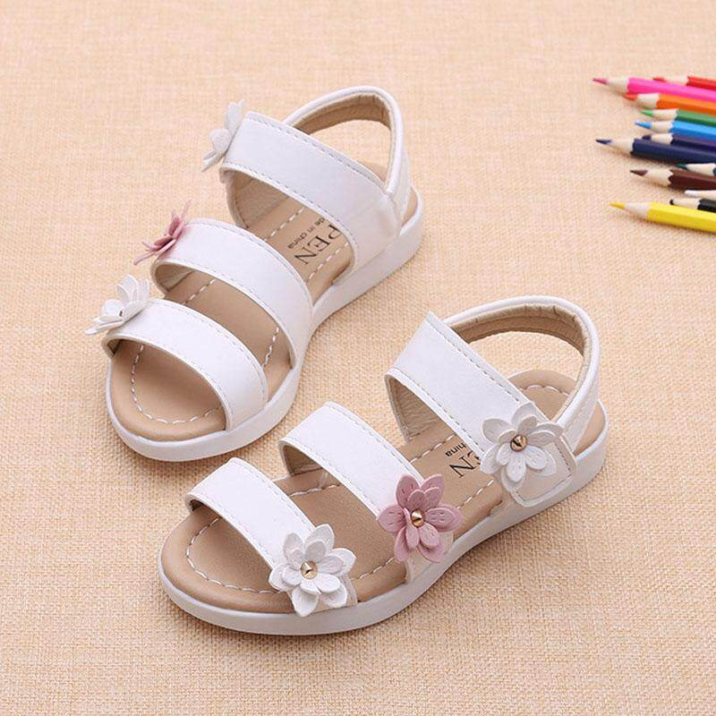 f29652c867728 Summer Beach Baby Girl Flat Sandals Strappy Flowers Kids Toddler Shoes