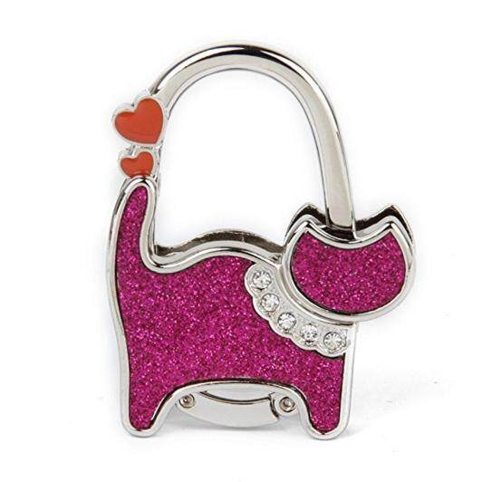 Ladie's Table Bag Handbag Purse Hook Hanger Holder Foldable Purse Bag Rhinestone Hanger Hangbag Hook Holder Cat Pattern - intl