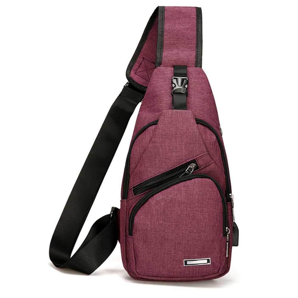 fd4ce628691 Wincoo Shoulder Bag With USB Charging Port,Chest Sling Crossbody Canvas  Shoulder Bag for School