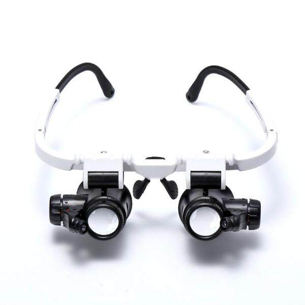 8x 15x 23x Double Eye Loupe Head Wearing Repair Jeweler Watch Clock Magnifier Illuminated Magnifying Glass with LED Light