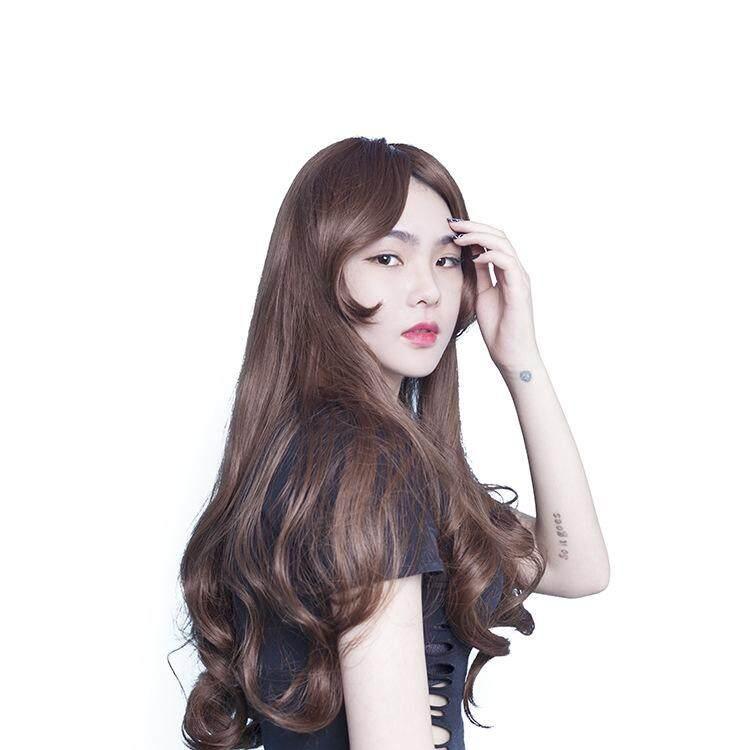Kimia Wig Fiber Wanita Miring Poni Lurus Panjang Rambut Keriting Gelombang Besar (