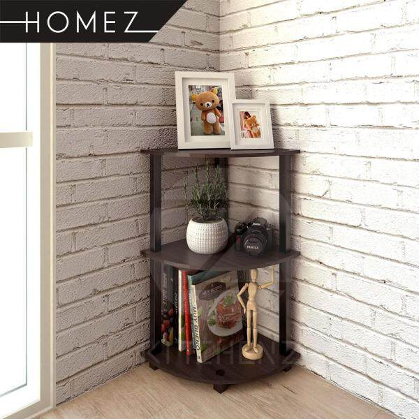 Homez Corner Rack HMZ-CR-DT-4005 Solid Board 3 Tier Corner Shelves / Book Shelf / Display Rack - 40 x 40 cm