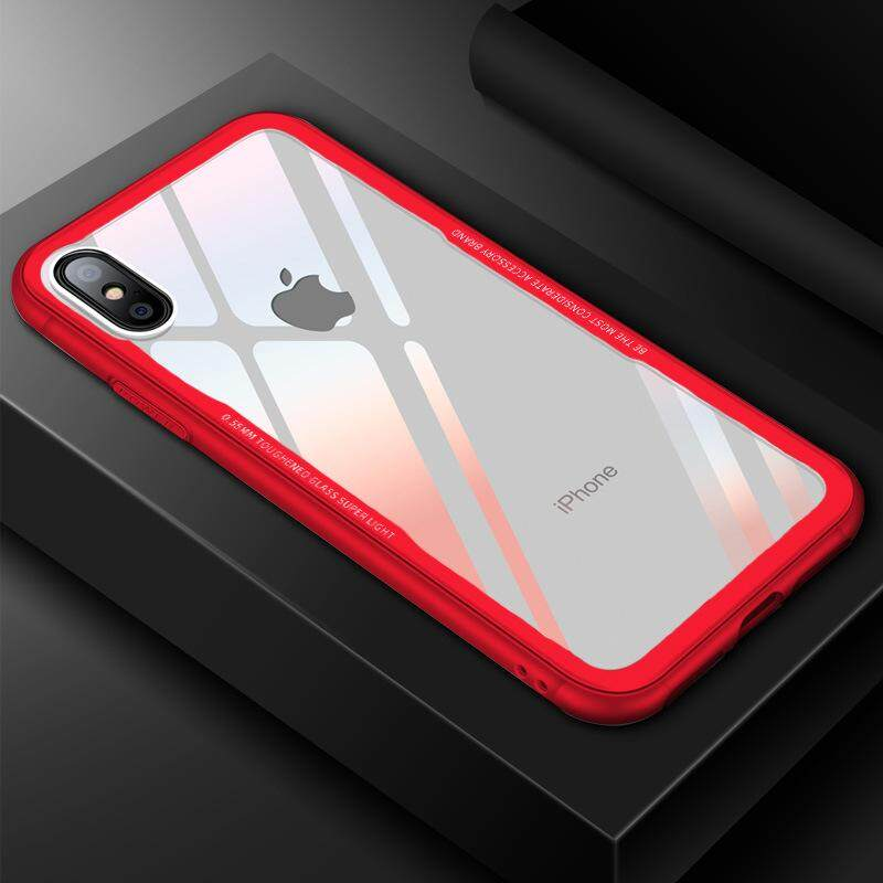 Cafele Light Glass Series Tempered Glass Back+ TPU Edge Case Cover for iPhone X