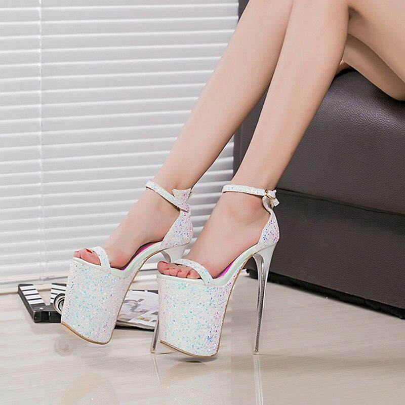 9ff8e0ce8f0 Women fashion new super high 20cm Platform 9cm sandals lady Peep Toe Thin High  Heels Party