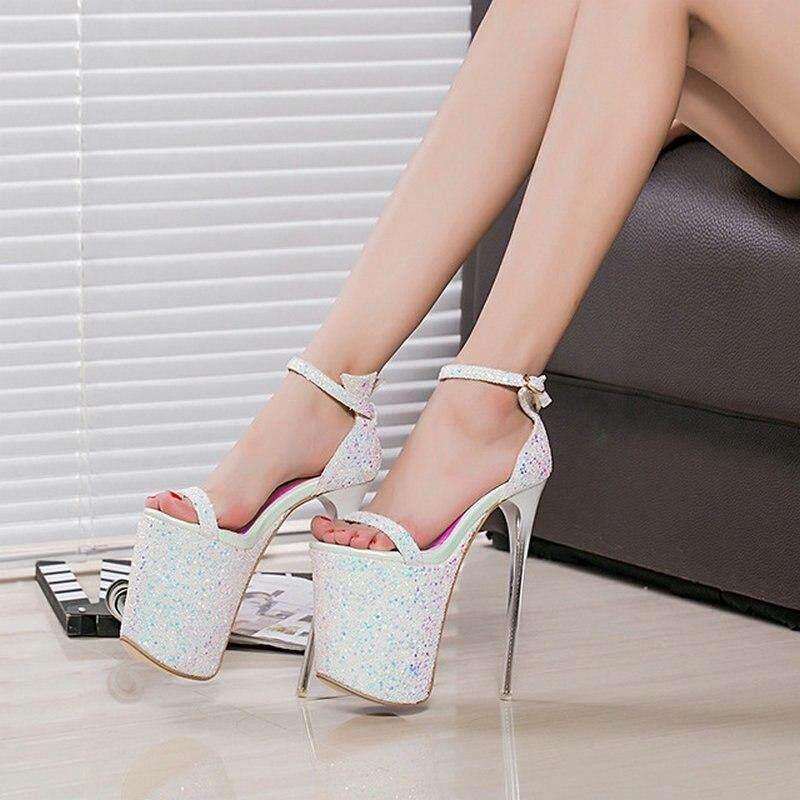 Women fashion new super high 20cm Platform 9cm sandals lady Peep Toe Thin High  Heels Party 146829bdd40b