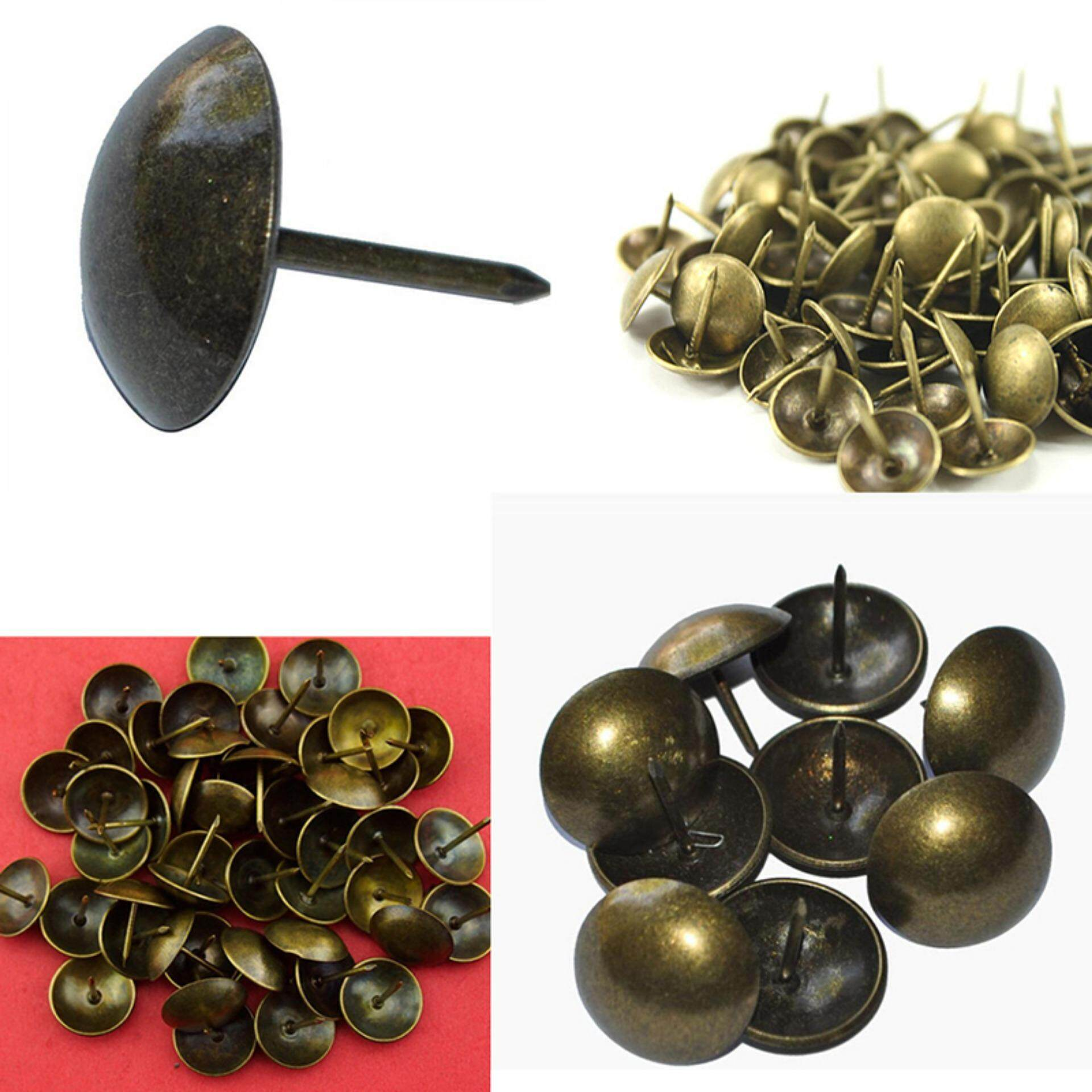 100Pcs Antique Bronze Upholstery Nail Sofa Decorative Tack Jewelry Gift Box Stud